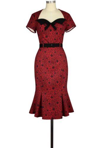 ANT 808A4 Damen Kleid Rockabilly 50er 60er Vintage Retro Dress Floral Print
