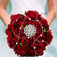 Handmade Bridal Flower Wedding Bouquet Crystal Pearls Silk Satin Brooch Rose