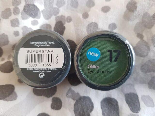 "Boots 17 Glitter Eyeshadow Singles  ""Superstar"" Green, New"