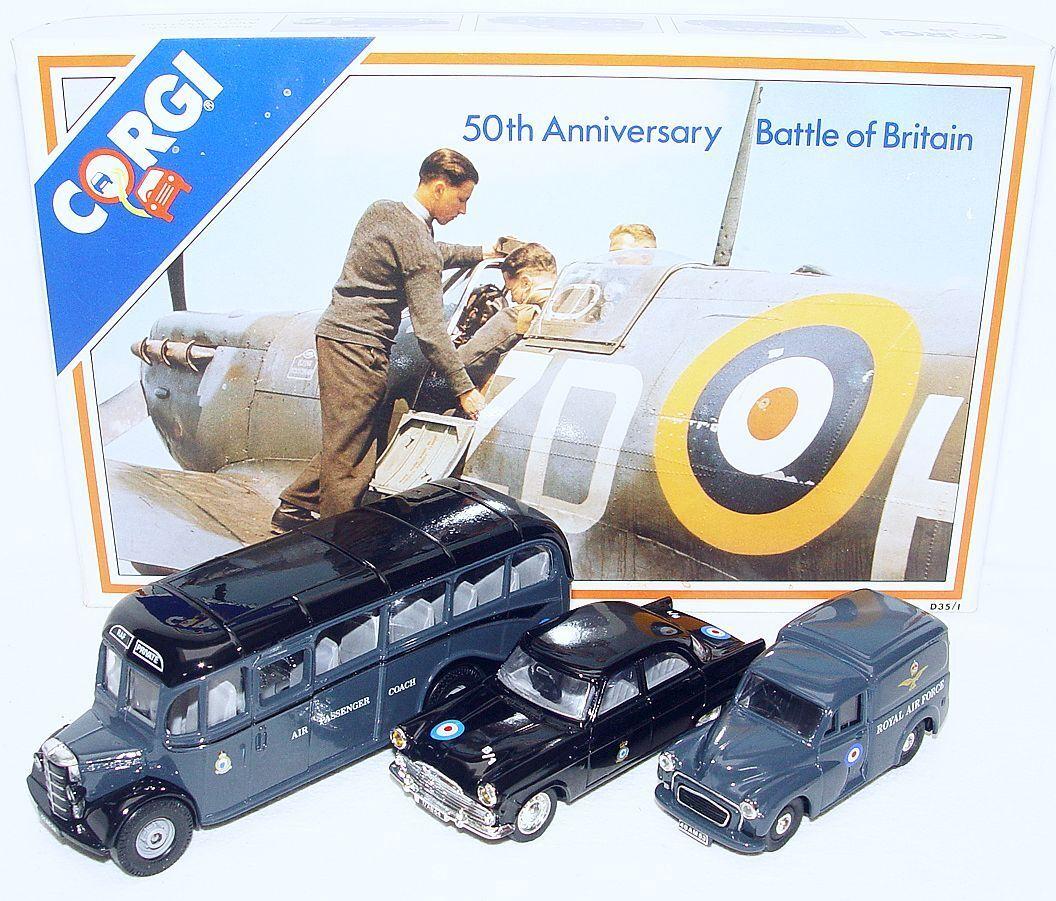 Corgi Toys 1 43 50th Anniversary BATTLE OF BRITAIN FORD & BEDFORD Car Set MIB`89