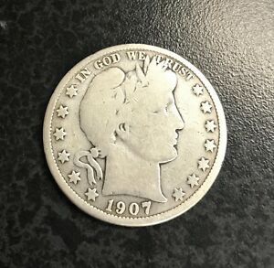90/% Silver US Coin GOOD 1907-O Barber Half Dollar
