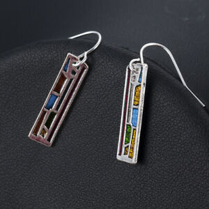 Woman-Multi-Color-925-Silver-Gemstone-Ear-Hook-Drop-Dangle-Party-Earrings-Gift