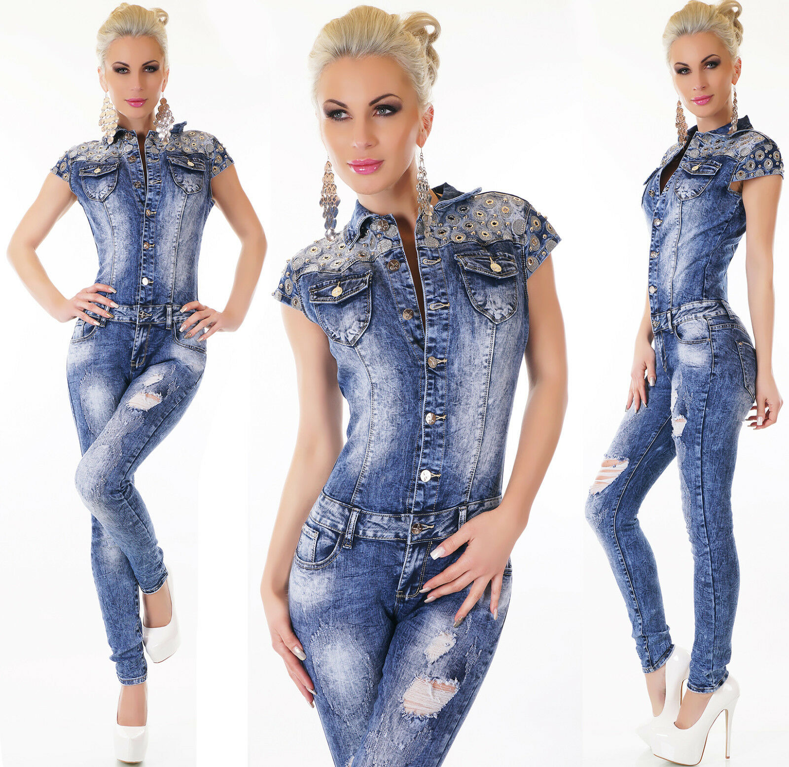 Women's Eyelet Distressed Stretch Denim Jeans Jumpsuit - XS S M L XL
