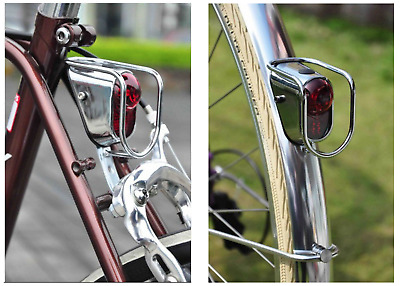 stop to Fender Bike x 26-28 Retro Old Style Kit Lighthouse//Tail Light Chrome 3-led Tabs