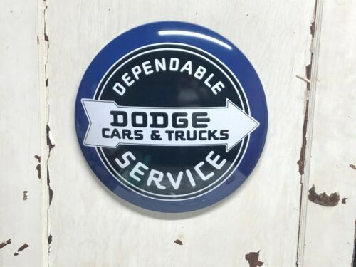 "DEPENDABLE DODGE CARS /& TRUCKS SERVICE 17/"" METAL DOME SIGN ~ GARAGE  MANCAVE"