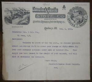 1901 Letterhead Quincy Illinois Comstock Castle Stove ...