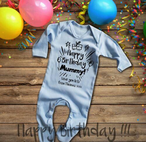 Personalizado Feliz Cumpleaños Mamá Azul Larga Manga del bebé crezca rompersuit Pelele.