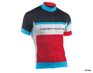 Maillot-de-Velo-NORTHWAVE-89151072-Logo-Jersey-Rouge-Noir-Bleu-T-M-L-NEUF