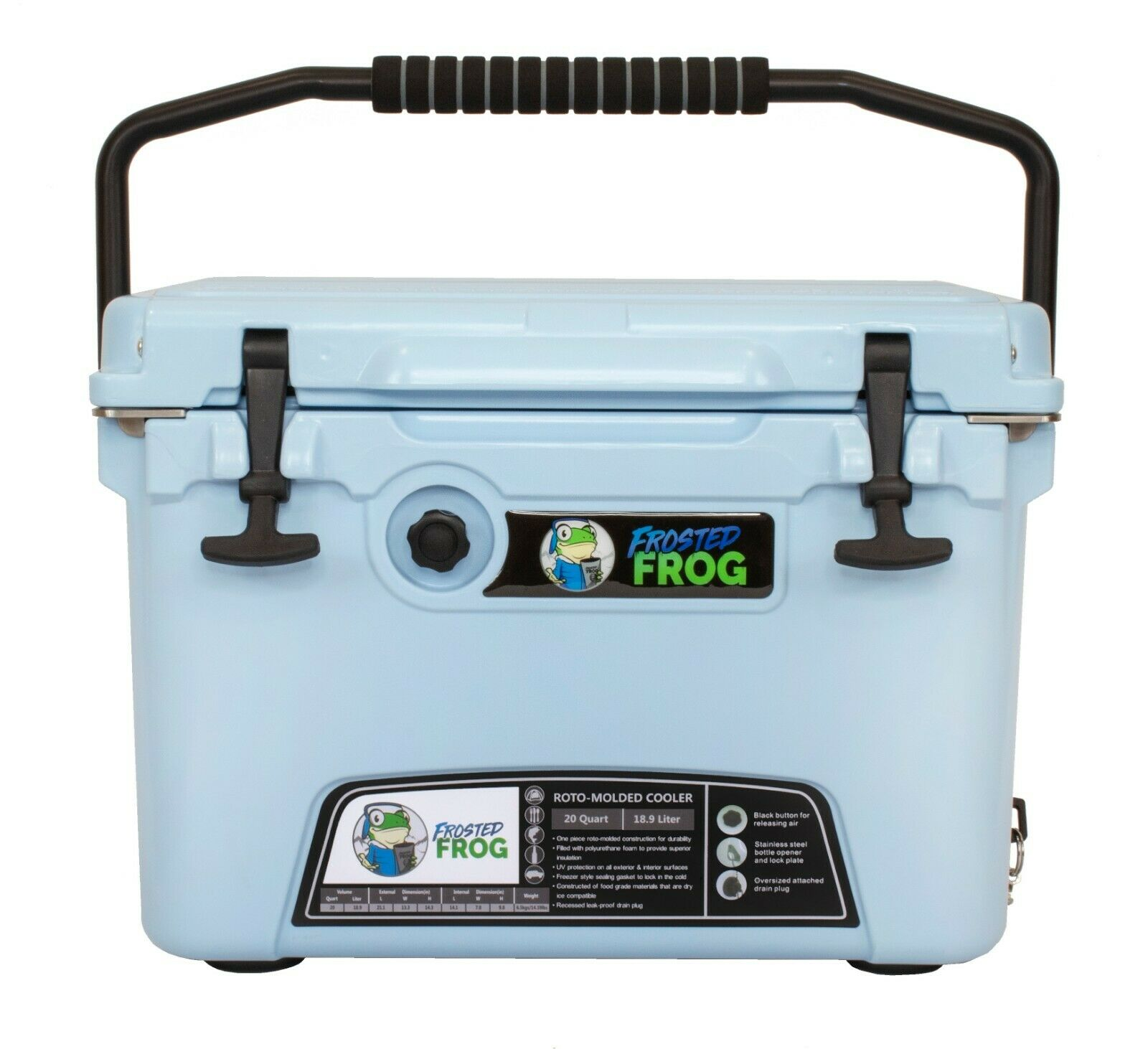 Frosted Frog Light Blau 20 Quart Ice Chest Heavy Duty Molded Insulated Cooler