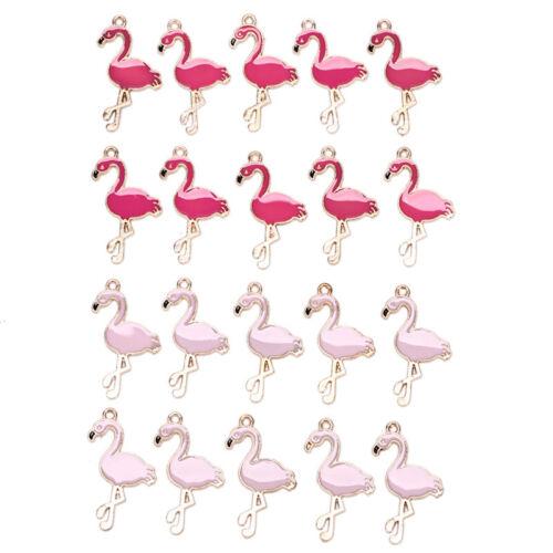 10PCS//Lot Alloy Enamel Flamingo Charms Pedants Crafts DIY Jewelry Findings Gi QE