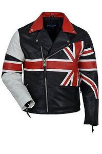 Men/'s Vintage Moto Union Jack Bandiera UK Biker Cafe Racer Giacca in Vera Pelle