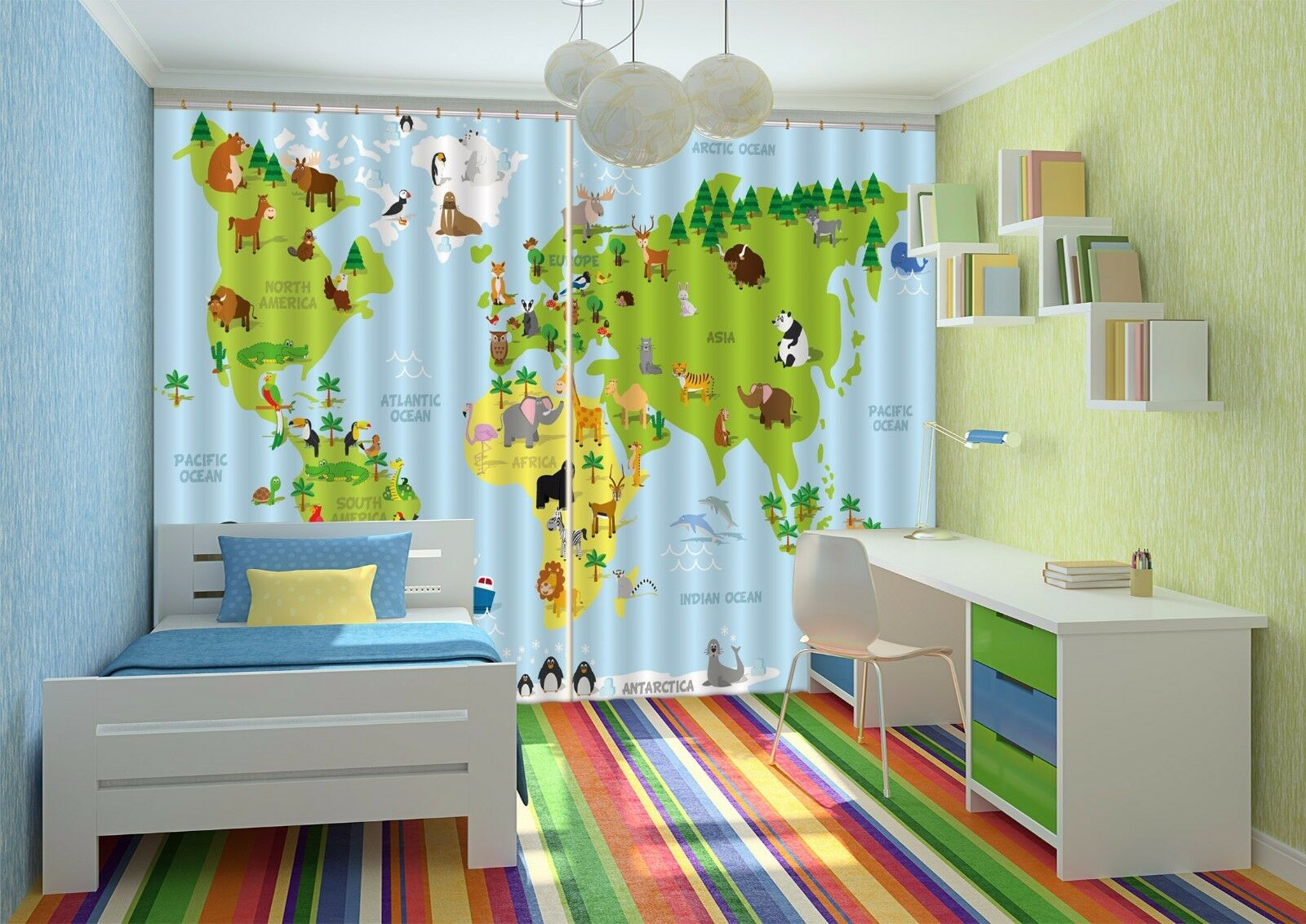 Mapa Zoológico 3D 448 Cortinas de impresión de cortina de foto Blockout Tela Cortinas Ventana au