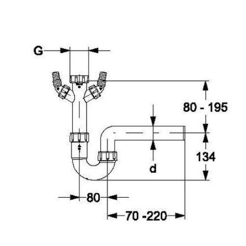 "Röhrensiphon 1 1//2/"" mit zwei Geräteanschlüssen DN40"