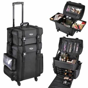 8b983be590a7 Details about AW Professional Makeup Artist Carry Case Cosmetic Trolley  Nylon Organizer Box UK