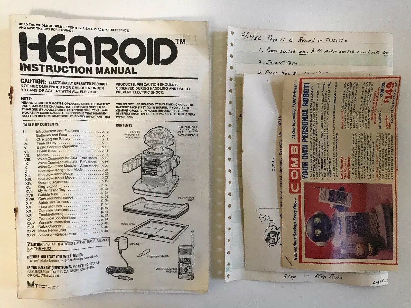 Vintage Hearoid Robot Instruction Book/ Manual & Advertisement Inserts TCC Tomy
