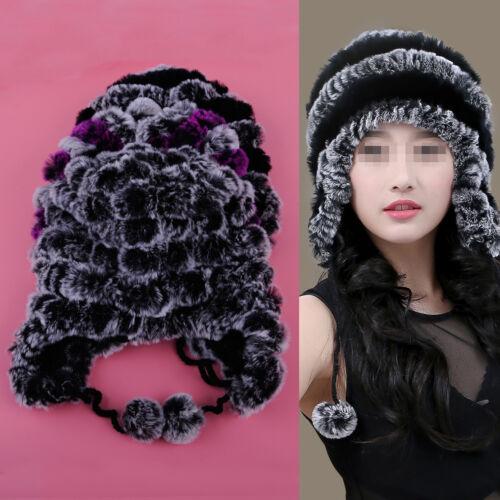 Echt Rex Kaninchen Pelz Hut Mütze Pelzball Kappe Russian Ushanka Trapper Hat Cap