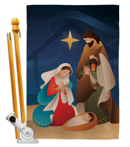 Holy Night Garden Flag Winter Nativity Small Decorative Gift Yard House Banner