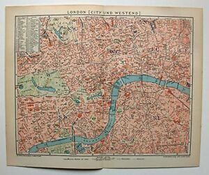 Karte London City.Details Zu London City Und Westend Alte Karte Stadtplan Von 1902 Lithographie
