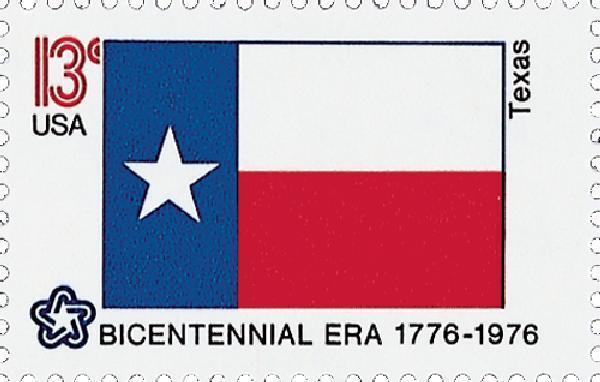 1976 13c Texas State Flag, Bicentennial Era Scott 1660