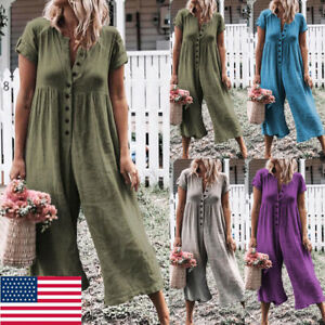 Women-Casual-Loose-Jumpsuit-Fashion-Dungarees-Playsuit-Trousers-Overalls-USA