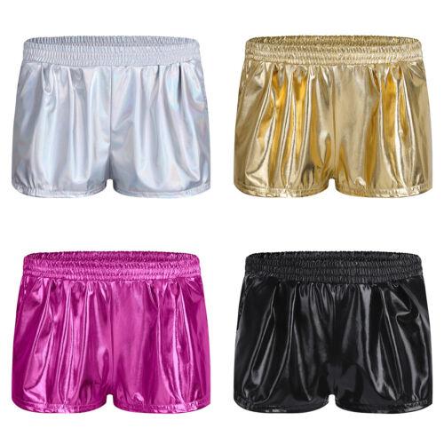 Damen Metallic Kurze Shorts Boxershorts Casual Sporthosen Yoga Hosen Laufhose