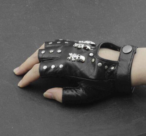 Femme Fille Tete De Mort Rivets Punk Rock Motard Mitaines Gants en cuir