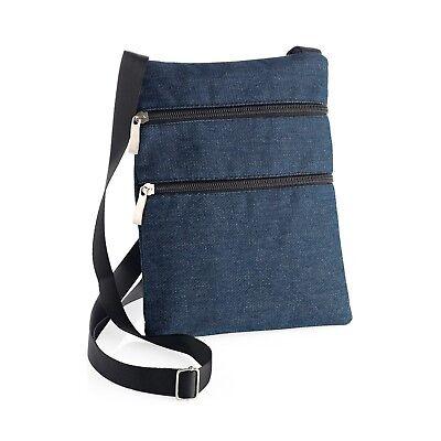 Plain Canvas Small Side Cross Body Messenger Shoulder Bag Denim Red Ladies
