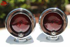Small Mini Red Marker Lights W Visor Chrome Custom Car Truck Hot Rod Chevy Ford Fits 1948 Fleetline