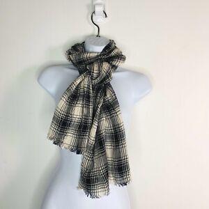 Womens-Fashion-Rectangle-Scarf-One-Size-Wrap-Black-White-Plaid-MT19