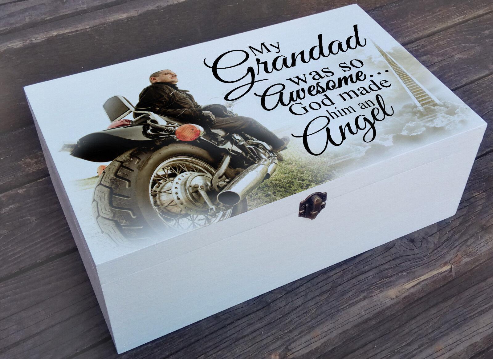 Blanco Personalizado Caja De Madera, Caja Caja Madera, de memoria recuerdo, en la memoria cariñosa Grandad 9144b5