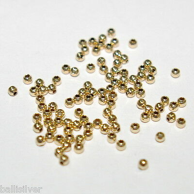 100 pieces 14kt GOLD FILLED 2mm ROUND Seamless Spacer or Crimp BEADS Lot