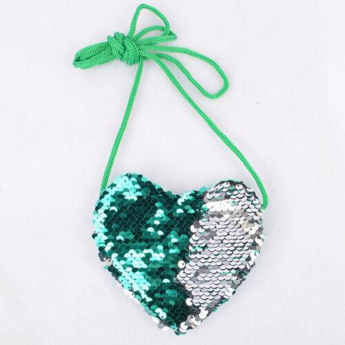 Fashion Girls Kids Heart Bag Coin Purse Sequins Messenger Crossbody Bags