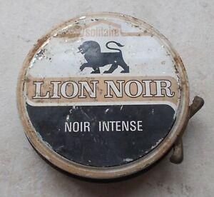 Boite-metal-ancienne-tole-Cirage-LION-NOIR-Chaussures-Bottes-France