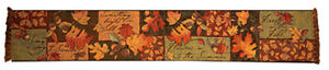 Fall Leaf Collage ~ Autumn Leaves Tapestry Table Runner ~ Artist, Susan Winget