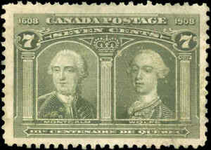 Used-Canada-1906-7c-F-Scott-100-Quebec-Tercentenary-Issue-Stamp