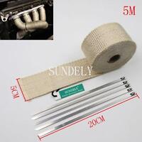 Car Exhaust Header Heat Wrap Creamy White 5m X 50mm Roll Dump Pipe Muffler Tape