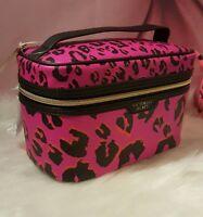 Victorias Secret Makeup Bag Train Case Travel Beauty Cheetah Leopard Pink
