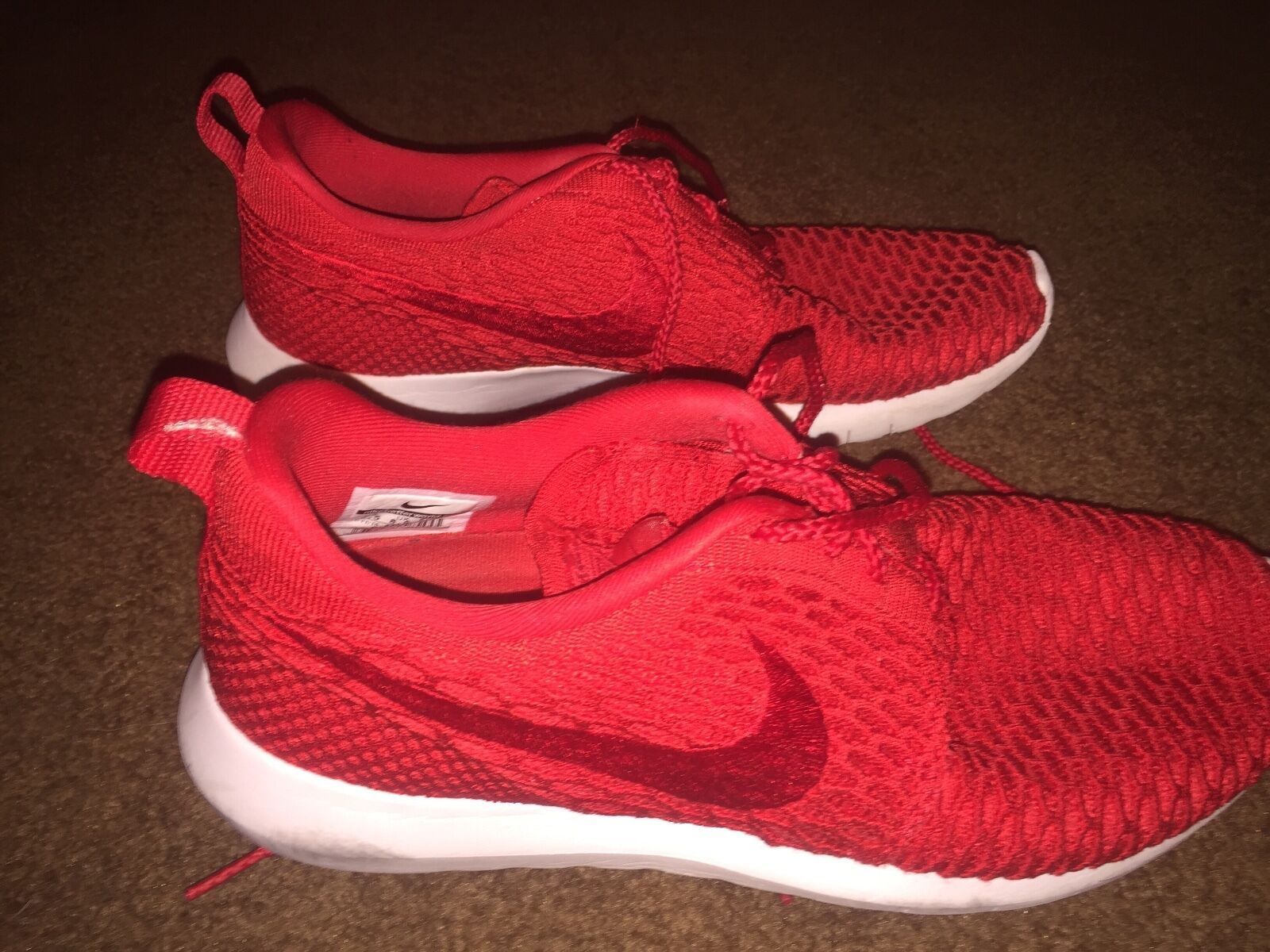 Nike Roshe NM Flyknit University Red White Running Men's SZ 9.5 677243-603