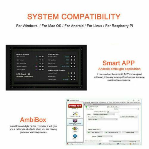 TV PC Backlight Dream Screen HDTV Computer Monitor USB LED Strip Addressable 5V