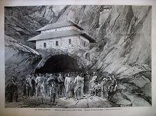 PYRENEES PERCEMENT TUNNEL MONT SAINT-GOTHARD CANTON D'URI AIROLO GRAVURES 1880