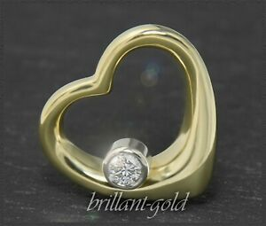 Diamant-Brillant-Herz-Anhaenger-lupenreiner-0-22ct-Brilliant-585-Gold-Neu