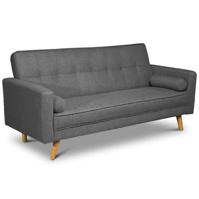 Modern Grey Fabric 2 / 3 Seater Sofa Bed  Scandi Style Charcoal or Light Grey