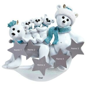 Personalized Christmas Tree Ornament Polar Bear Family Of 5 2020 Holiday Gift 845583034031 Ebay