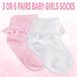 Quality Cotton Rich White Socks 2 pairs Baby 3-6 months, white newborn