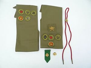 Mixed-Vintage-Lot-Old-Girl-Scout-Boy-Scout-Sashes-Patches-Medals-Pins-Awards