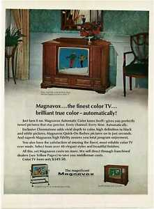1967 MAGNAVOX TV Floor Console Early American cabinet Vintage Print Ad