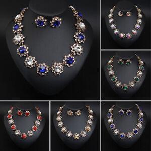 Crystal-Gem-Stone-Necklace-Earrings-Vintage-Statement-Jewelry-Set-Women-Bridal