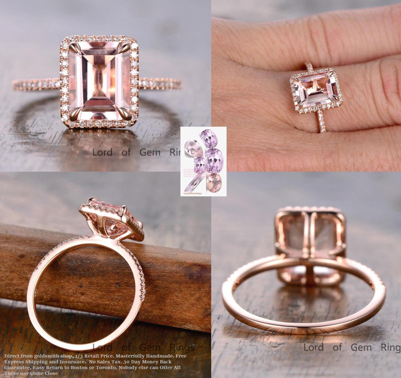 Diamond Halo 8x10mm Emerald Cut Morganite Engagement Wedding Ring 14K pink gold