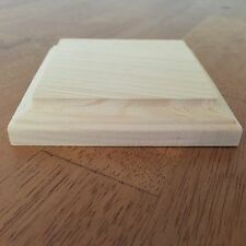 """New. Natural Unfinished Wood Plaque Wooden Square Base Stand 4""""x4"""" DIY"""