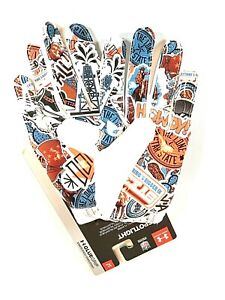 Under Armour Spotlight Texas Edition Football Gloves Glue Grip White Men Size XL